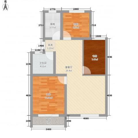 余姚金桂苑3室1厅1卫1厨90.00㎡户型图