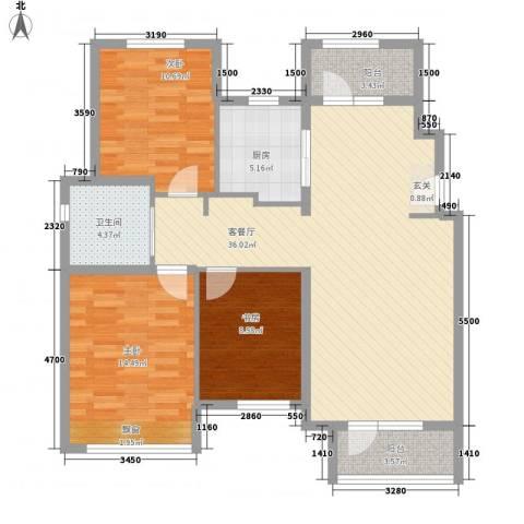 秦皇岛华润橡树湾3室1厅1卫1厨123.00㎡户型图