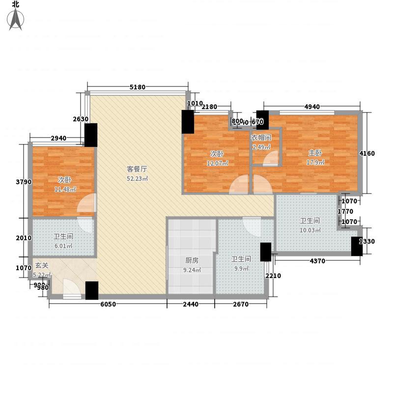 朗豪东港3室1厅3卫1厨131.35㎡户型图