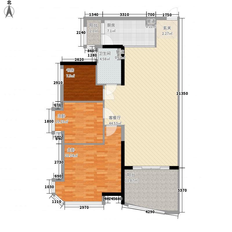 新会碧桂园15.00㎡南湖郡7号楼03户型3室2厅1卫1厨