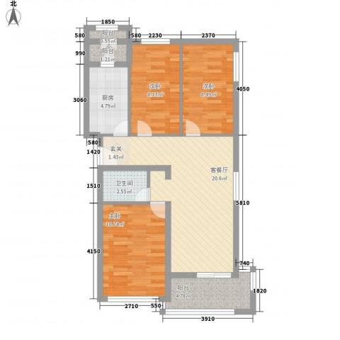 水荫路军区大院3室1厅1卫1厨90.00㎡户型图