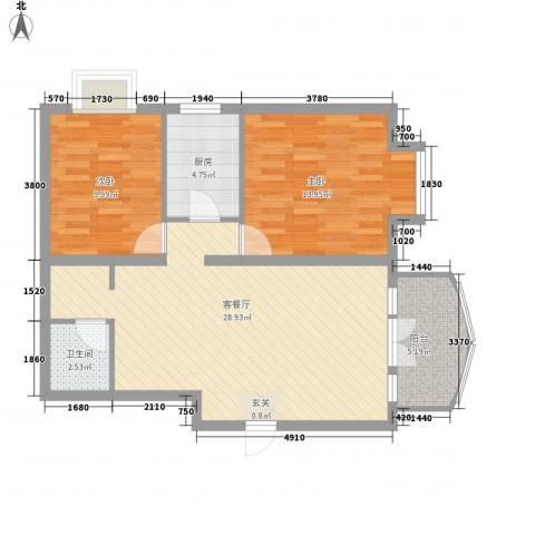新街坊佳兴园2室1厅1卫1厨92.00㎡户型图