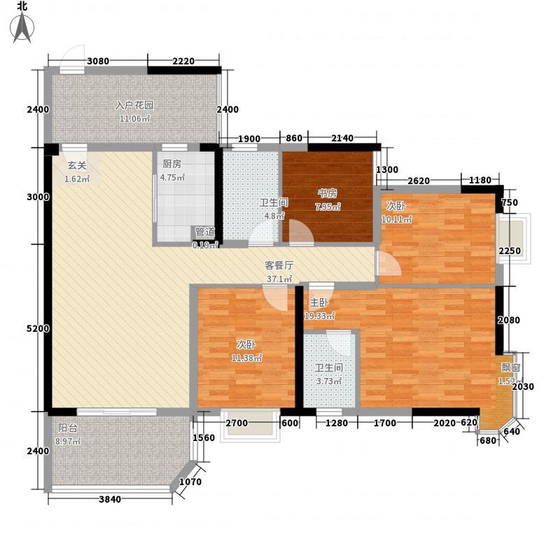 凤凰台14.43㎡12#楼A2户型4室2厅2卫1厨