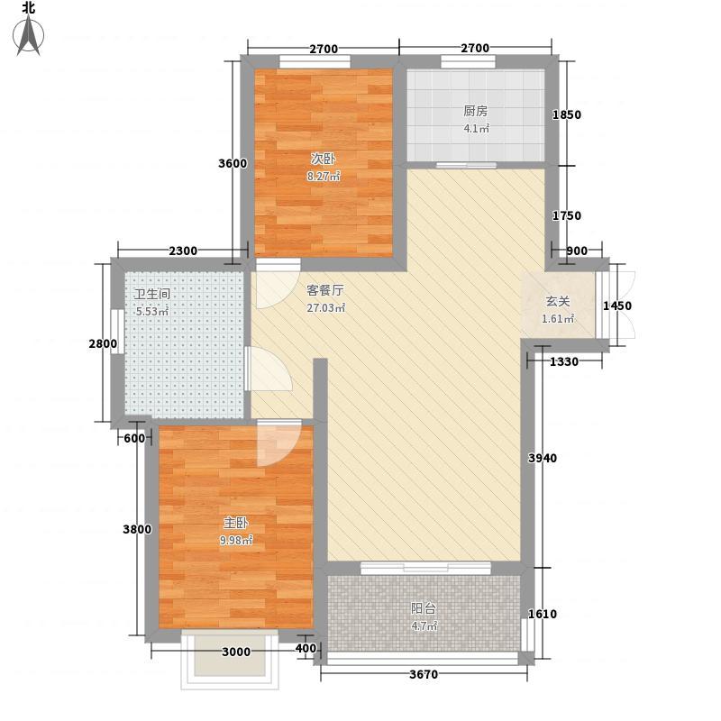 新希望乐城8.67㎡2、3、4号楼A户型2室2厅1卫1厨