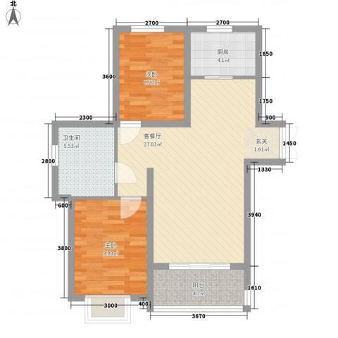新希望乐城2室1厅1卫1厨59.59㎡户型图