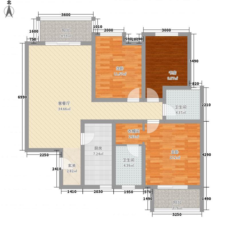 铂悦3室1厅2卫1厨142.00㎡户型图