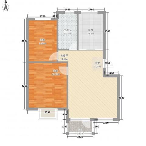 鑫馨佳园2室1厅1卫1厨80.00㎡户型图