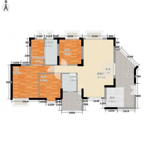 润碧康城3室1厅2卫0厨128.00㎡户型图