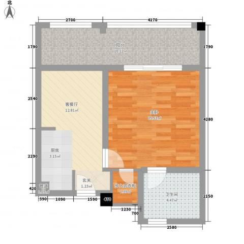 金汤湾海水温泉小镇1室1厅1卫0厨65.00㎡户型图
