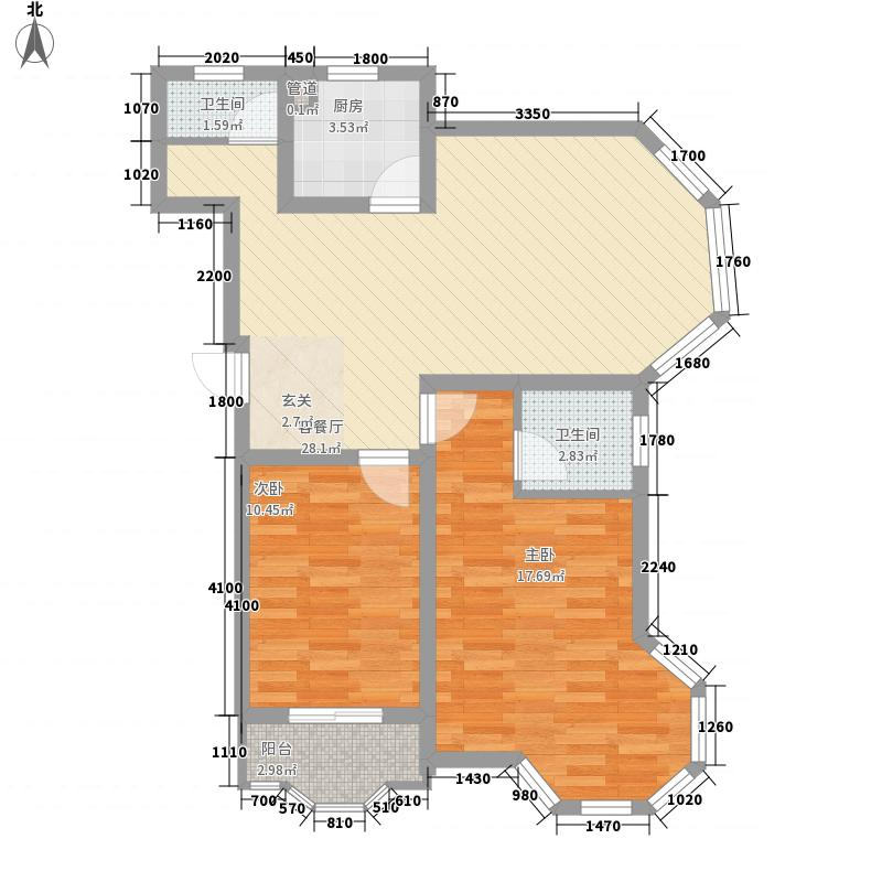 铭威阳光丽景92.01㎡A2户型标准层户型2室2厅2卫1厨