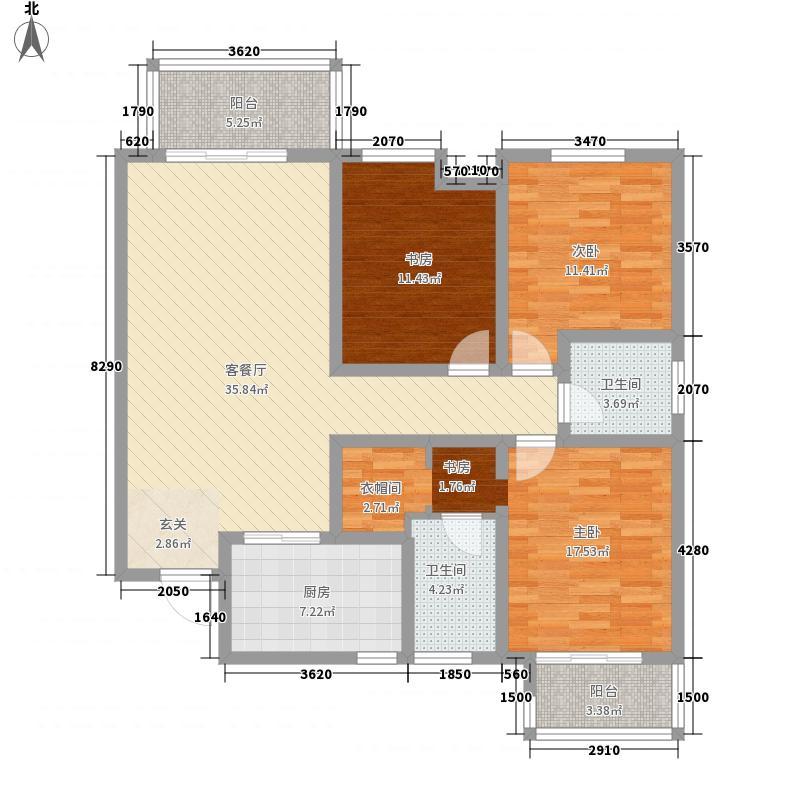 铂悦3室1厅2卫1厨145.00㎡户型图