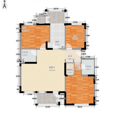 龙泽苑东区3室1厅2卫1厨135.00㎡户型图