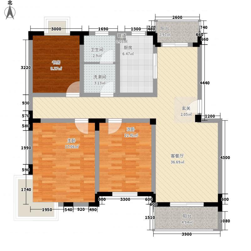 凤凰城家家景园114.76㎡凤凰城家家景园户型图3室2厅1卫1厨户型10室