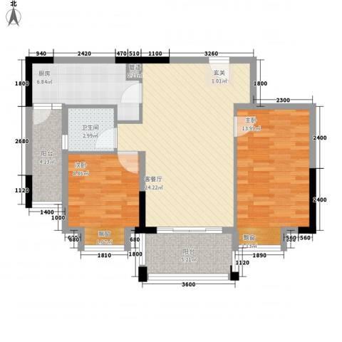顺欣广场二期2室1厅1卫1厨77.00㎡户型图