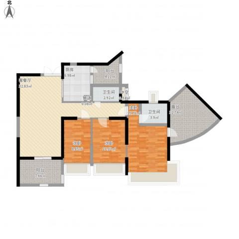 凯茵新城3室1厅2卫1厨154.00㎡户型图