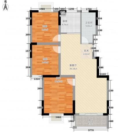 上佳城3室1厅1卫1厨110.00㎡户型图