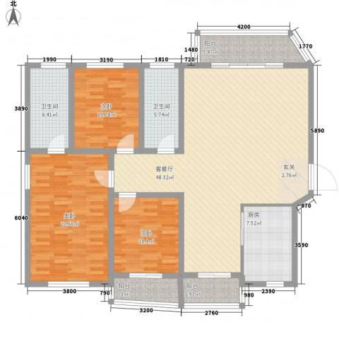 听涛花园3室1厅2卫1厨172.00㎡户型图