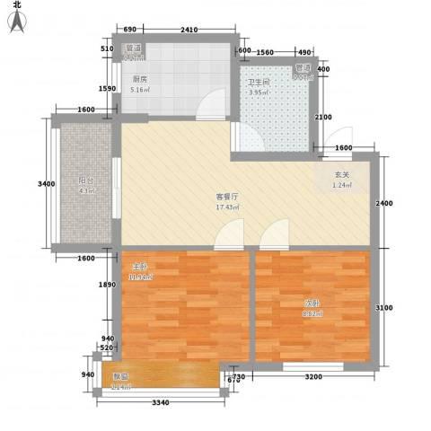 新希望乐城2室1厅1卫1厨51.83㎡户型图