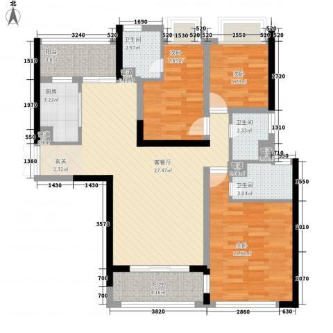 光南街小区3室1厅3卫1厨110.00㎡户型图