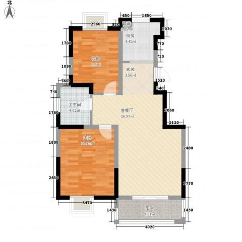 上佳城2室1厅1卫1厨90.00㎡户型图