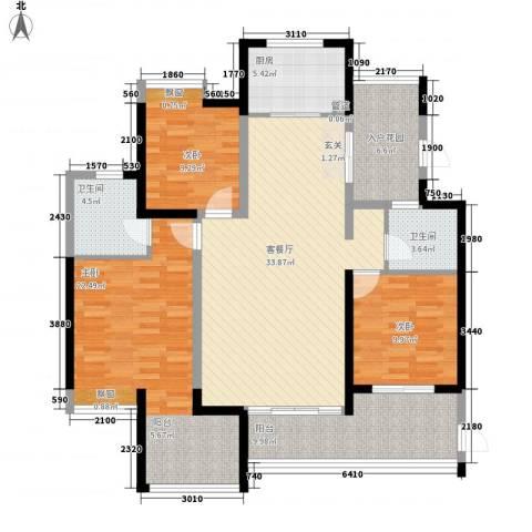 城中村改造项目小区3室1厅2卫1厨151.00㎡户型图