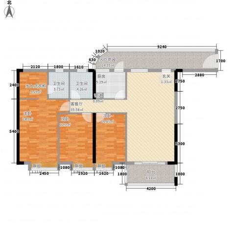 顺欣广场二期3室1厅2卫1厨116.82㎡户型图