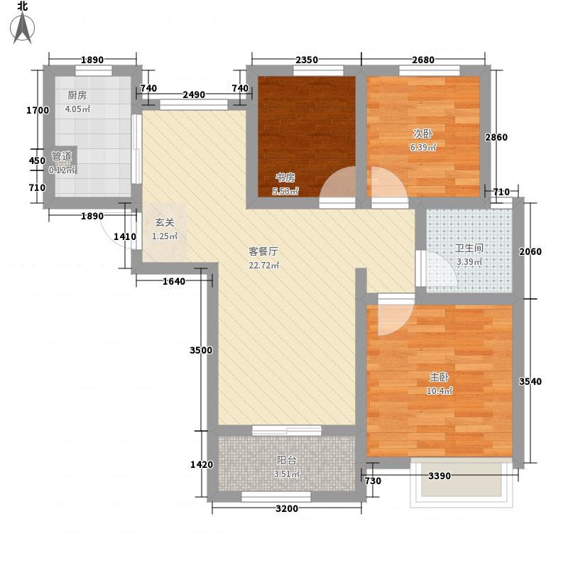 正弘澜庭叙3室1厅1卫1厨56.10㎡户型图