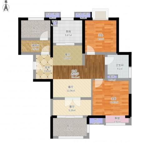 佳兆业城市广场2室1厅1卫1厨89.00㎡户型图
