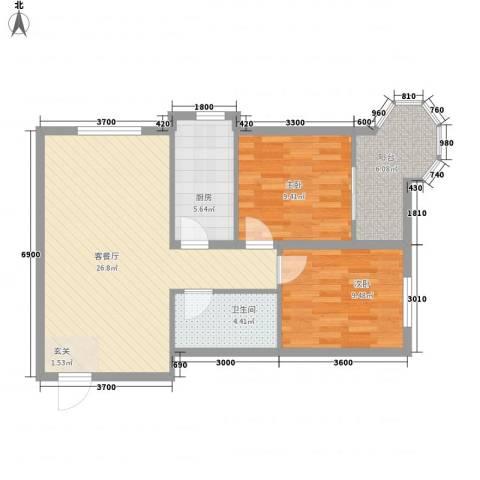 帝景公馆2室1厅1卫1厨89.00㎡户型图