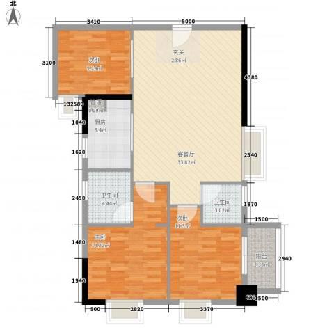 中强雅苑3室1厅2卫1厨96.00㎡户型图