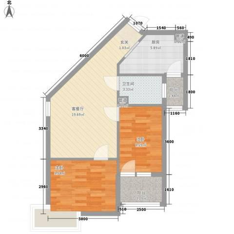 新希望乐城2室1厅1卫1厨77.00㎡户型图