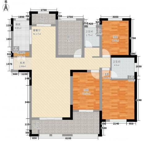 御景华庭3室1厅2卫1厨164.00㎡户型图
