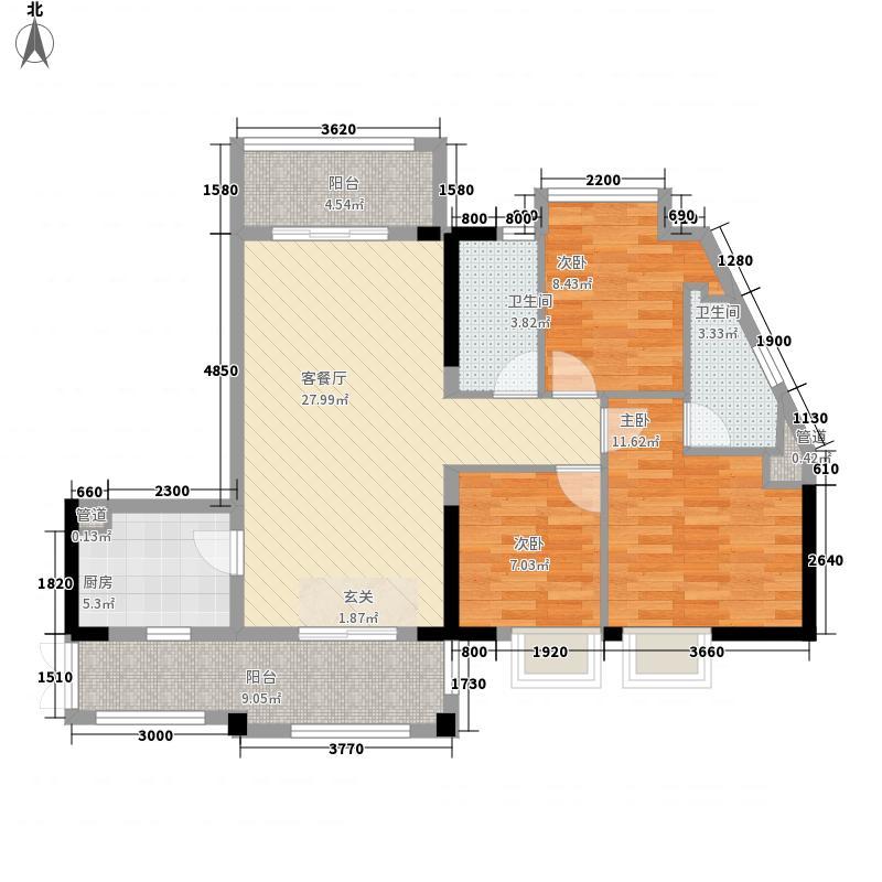 GOGO Park万荟时代3室2厅 户型图