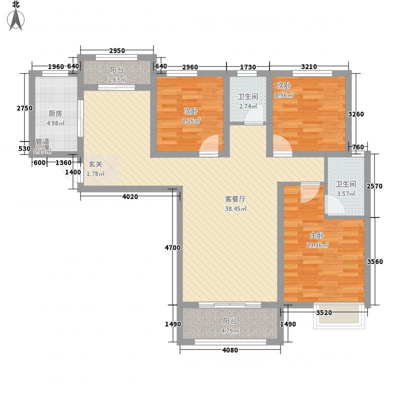 正弘澜庭叙3室1厅2卫1厨87.88㎡户型图