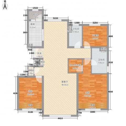 华业玫瑰东方Ⅱ期3室1厅2卫1厨140.00㎡户型图