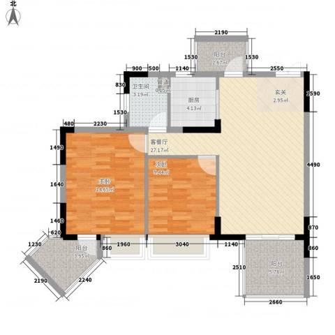 时代廊桥2室1厅1卫1厨101.00㎡户型图