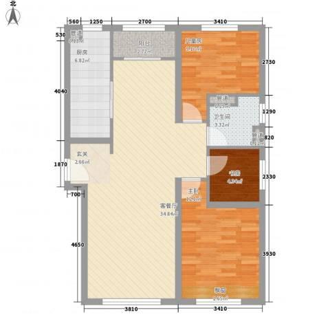 华业玫瑰东方Ⅱ期3室1厅1卫1厨109.00㎡户型图