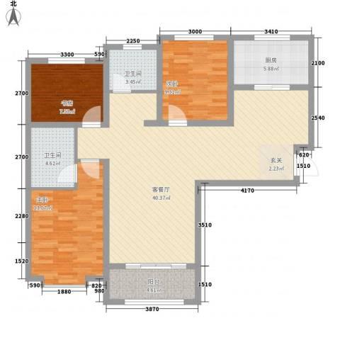 帝景公馆3室1厅2卫1厨120.00㎡户型图