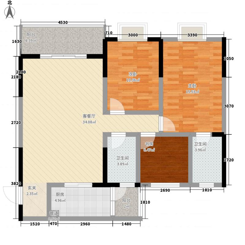 永年高九领地3室1厅2卫1厨87.72㎡户型图