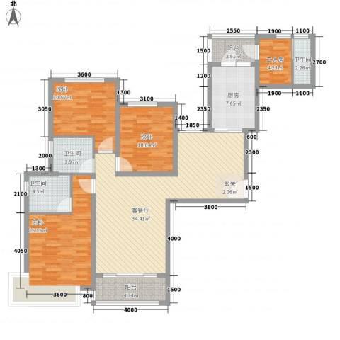恒大城3室1厅3卫1厨146.00㎡户型图