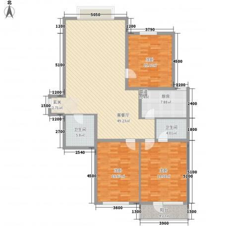 美丽新世界3室1厅2卫1厨163.00㎡户型图