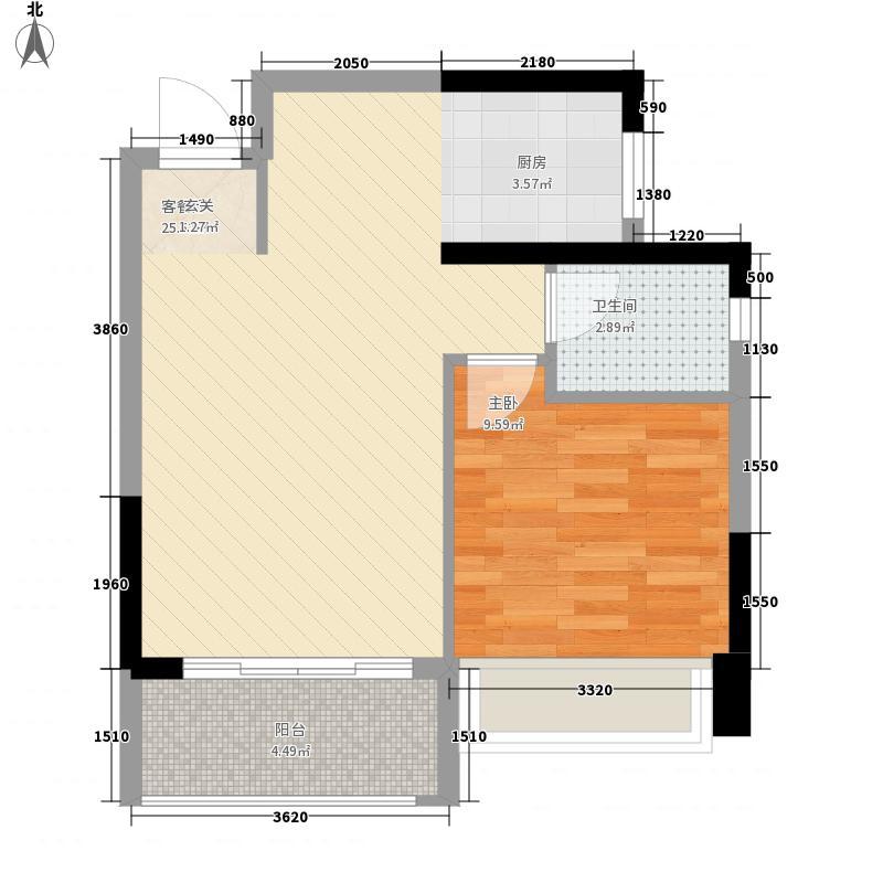 业和・丰门盛世56.80㎡B-4户型1室2厅1卫1厨