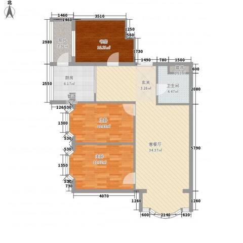 铂宫3室1厅1卫1厨92.00㎡户型图