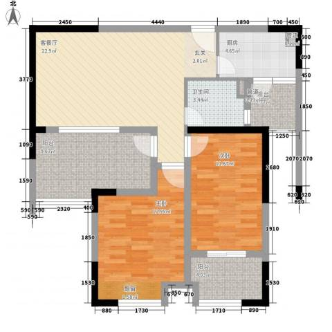御景华庭2室1厅1卫1厨105.00㎡户型图
