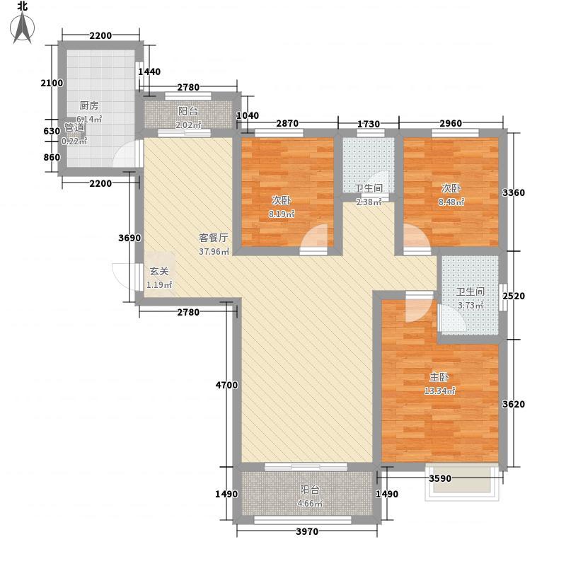 正弘澜庭叙3室1厅2卫1厨87.13㎡户型图