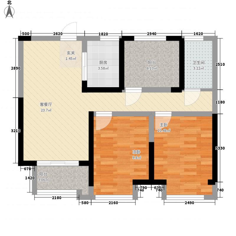 公园道1号2室1厅1卫1厨59.97㎡户型图