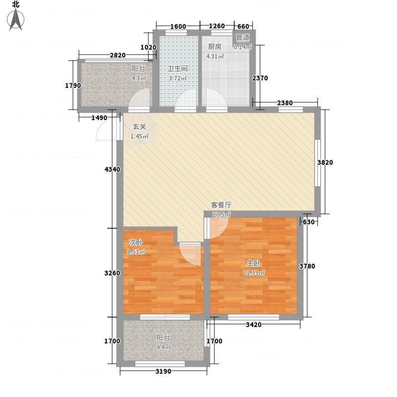 智慧之城三期高层45#、46#、47#D户型2室2厅1卫1厨