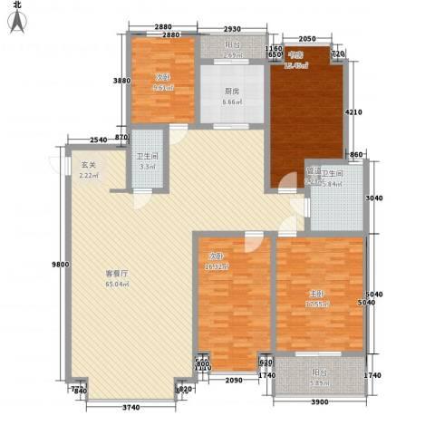 裕丰花园4室1厅2卫1厨208.00㎡户型图