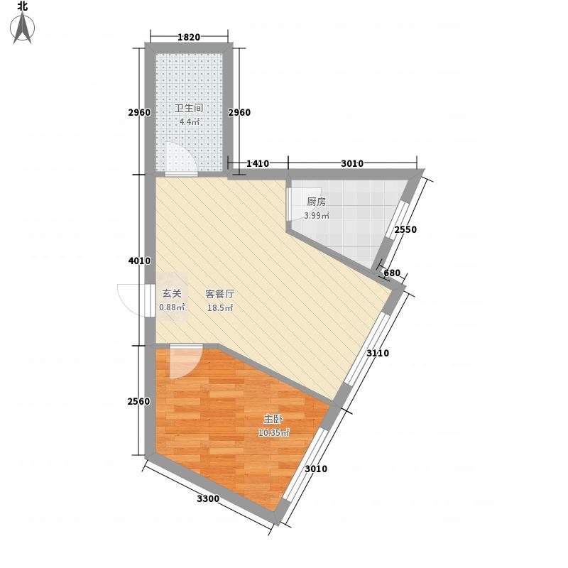 东一时区55.55㎡3#C户型1室2厅1卫1厨