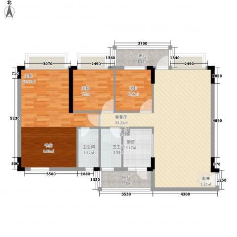 蓝色海岸3室1厅2卫1厨128.00㎡户型图